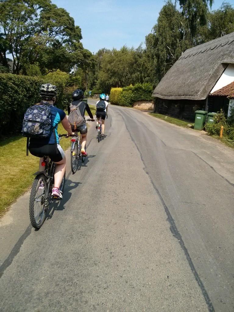 Cycling through Hemington Abbots.