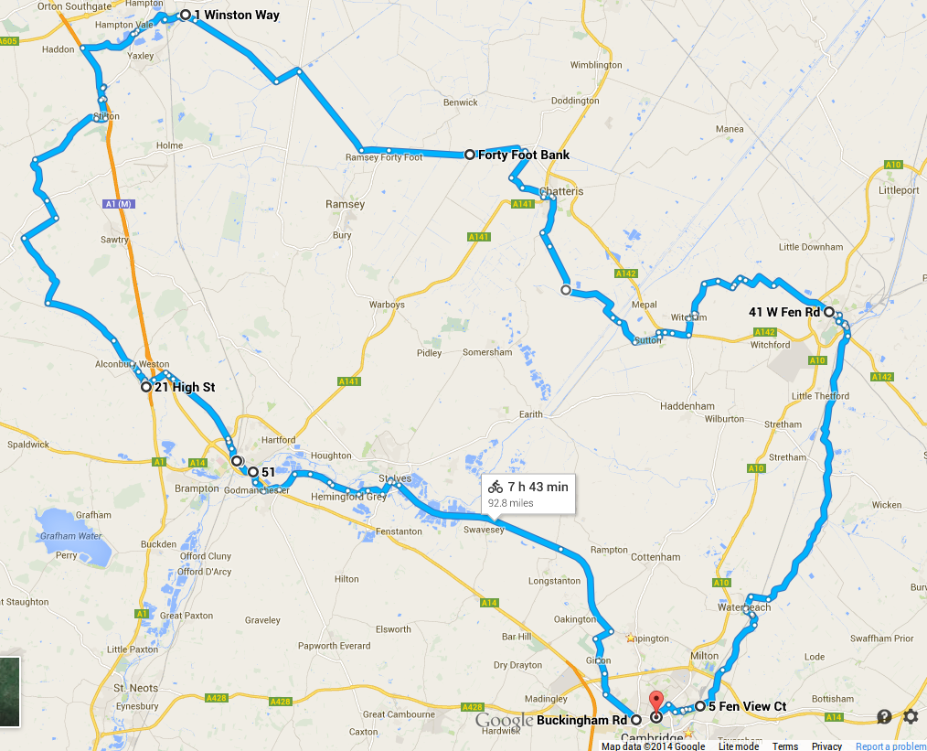 Sal's original planned route